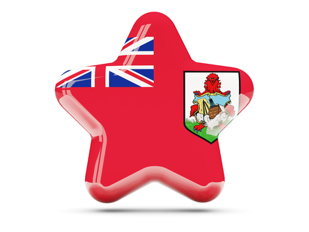 bermuda: Star icon with flag of bermuda. 3D illustration