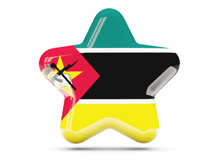 mozambique: Star icon with flag of mozambique. 3D illustration