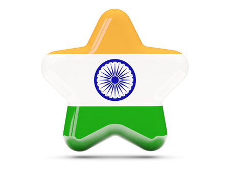 india 3d: Star icon with flag of india. 3D illustration Stock Photo