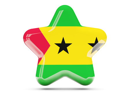 principe: icono de la estrella de la bandera de Sao Tome y Principe. ilustración 3D