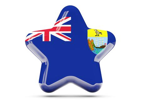 helena: Star icon with flag of saint helena. 3D illustration