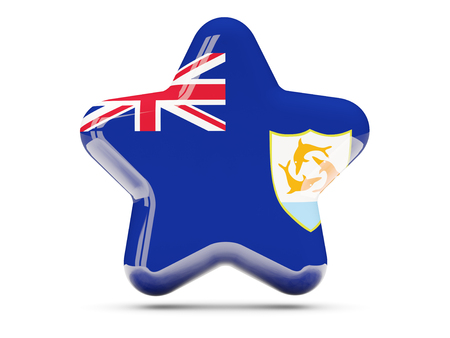 anguilla: Star icon with flag of anguilla. 3D illustration Stock Photo