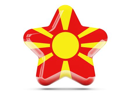 macedonia: Star icon with flag of macedonia. 3D illustration