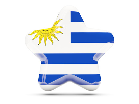 uruguay: Star icon with flag of uruguay. 3D illustration