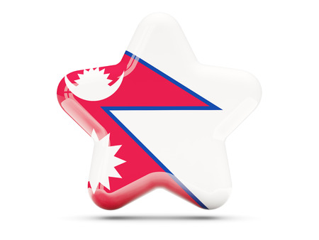 nepal: Star icon with flag of nepal. 3D illustration Stock Photo