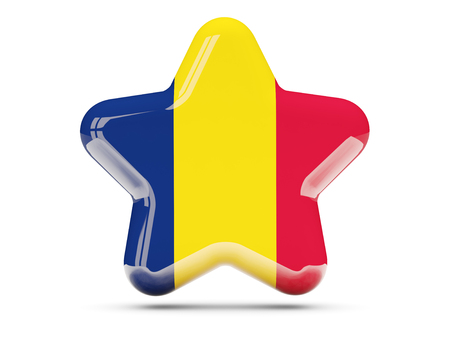 chad: Star icon with flag of chad. 3D illustration