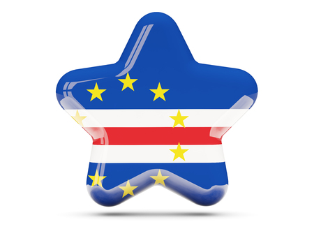 verde: Star icon with flag of cape verde. 3D illustration Stock Photo