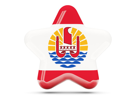 flag french icon: Star icon with flag of french polynesia. 3D illustration
