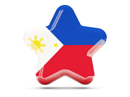philippines: Star icon with flag of philippines. 3D illustration