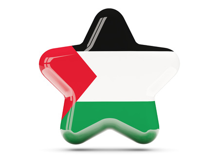 palestinian: Star icon with flag of palestinian territory. 3D illustration
