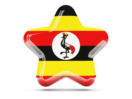 uganda: Star icon with flag of uganda. 3D illustration Stock Photo