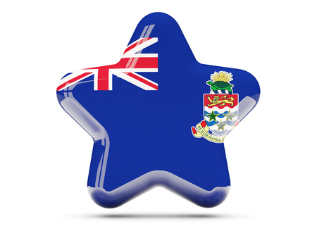 cayman islands: Star icon with flag of cayman islands. 3D illustration Stock Photo
