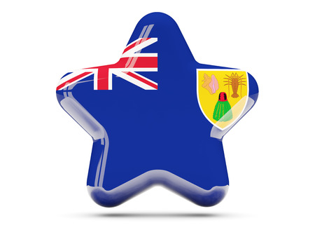 the turks: Star icon with flag of turks and caicos islands. 3D illustration