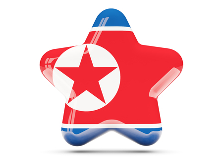 north star: Star icon with flag of korea north. 3D illustration