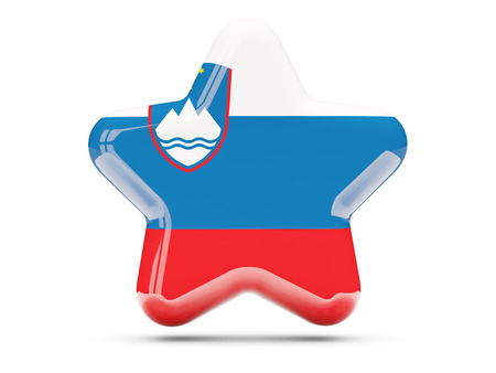 slovenia: Star icon with flag of slovenia. 3D illustration