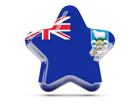 falkland: Star icon with flag of falkland islands. 3D illustration