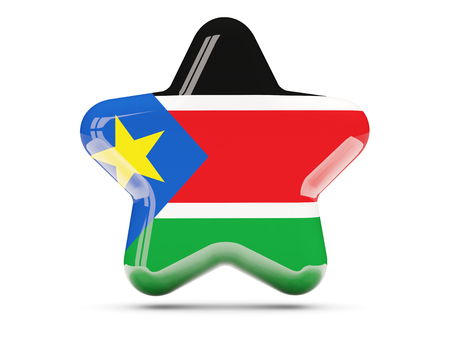 south sudan: Star icon with flag of south sudan. 3D illustration