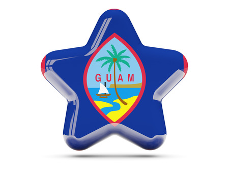 guam: Star icon with flag of guam. 3D illustration