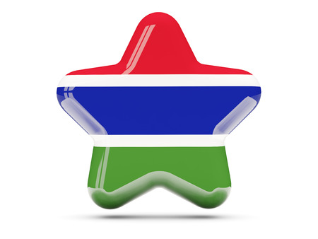 Star icon with flag of gambia. 3D illustration