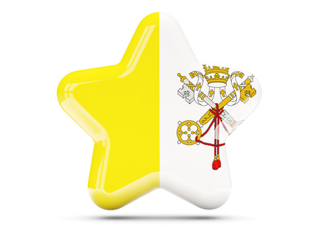 vatican city: Star icon with flag of vatican city. 3D illustration