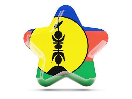 new caledonia: Star icon with flag of new caledonia. 3D illustration