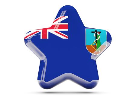 montserrat: Star icon with flag of montserrat. 3D illustration
