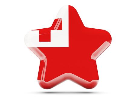tonga: Star icon with flag of tonga. 3D illustration
