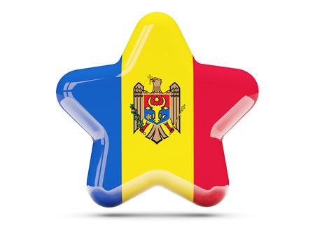 moldova: Star icon with flag of moldova. 3D illustration