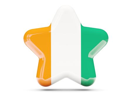 cote d ivoire: Star icon with flag of cote d Ivoire. 3D illustration
