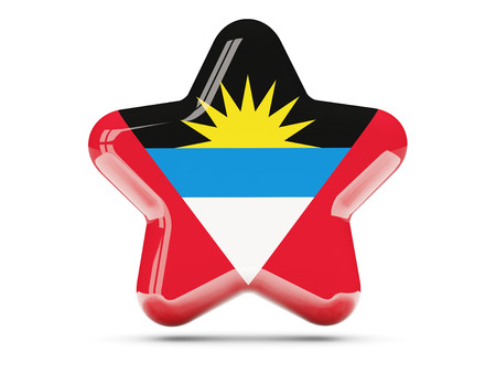 barbuda: Star icon with flag of antigua and barbuda. 3D illustration