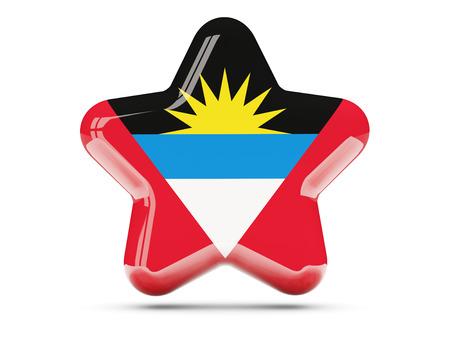 antigua: Star icon with flag of antigua and barbuda. 3D illustration