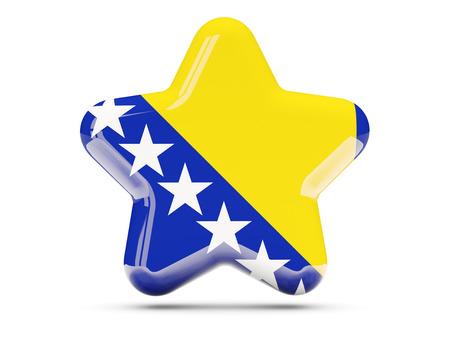 bosnia and herzegovina flag: Star icon with flag of bosnia and herzegovina. 3D illustration Stock Photo