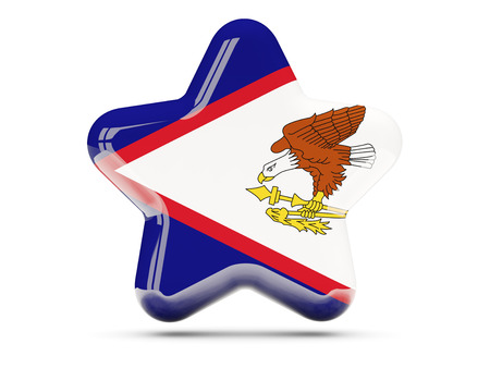 samoa: Star icon with flag of american samoa. 3D illustration Stock Photo