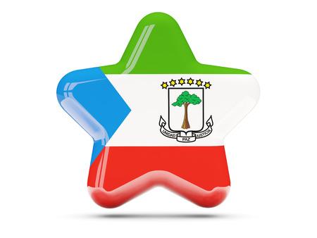 equatorial guinea: Star icon with flag of equatorial guinea. 3D illustration
