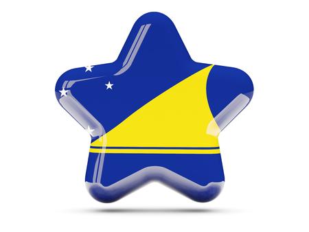tokelau: Star icon with flag of tokelau. 3D illustration