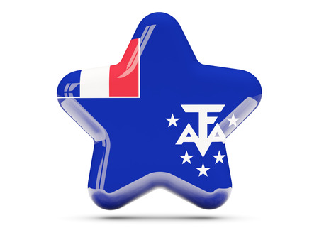 territories: Star icon with flag of french southern territories. 3D illustration