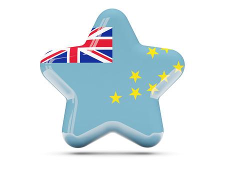 tuvalu: Star icon with flag of tuvalu. 3D illustration