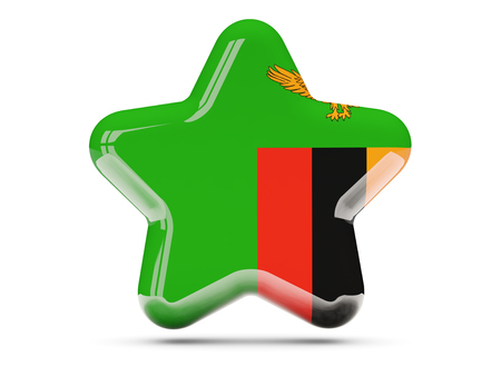 zambia: Star icon with flag of zambia. 3D illustration