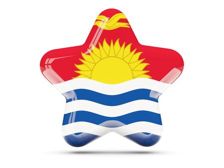 kiribati: Star icon with flag of kiribati. 3D illustration