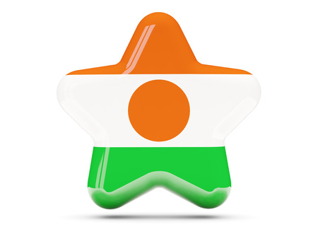 niger: Star icon with flag of niger. 3D illustration