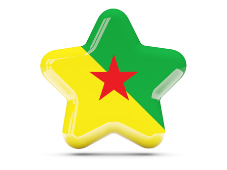 guiana: Star icon with flag of french guiana. 3D illustration Stock Photo