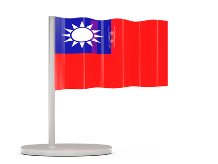 the republic of china: Pin with flag of republic of china. 3D illustration