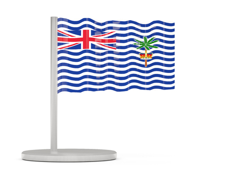 indian ocean: Pin with flag of british indian ocean territory. 3D illustration Stock Photo