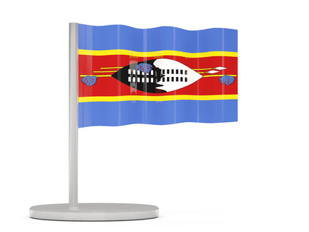 swaziland: Pin with flag of swaziland. 3D illustration