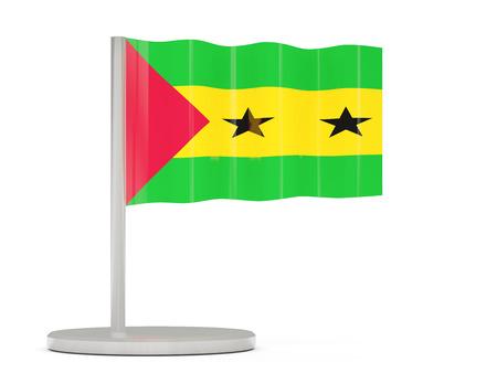 principe: Pin con la bandera de Sao Tome y Principe. ilustraci�n 3D