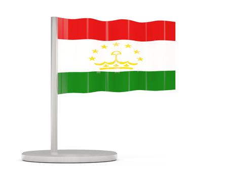 tajikistan: Pin with flag of tajikistan. 3D illustration