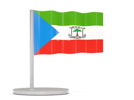 equatorial: Pin with flag of equatorial guinea. 3D illustration