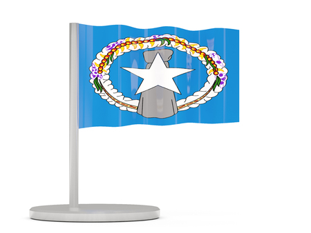 mariana: Pin with flag of northern mariana islands. 3D illustration