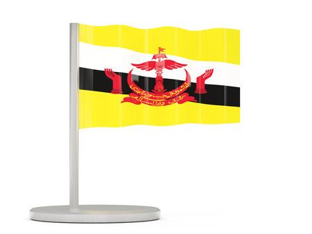 brunei: Pin with flag of brunei. 3D illustration