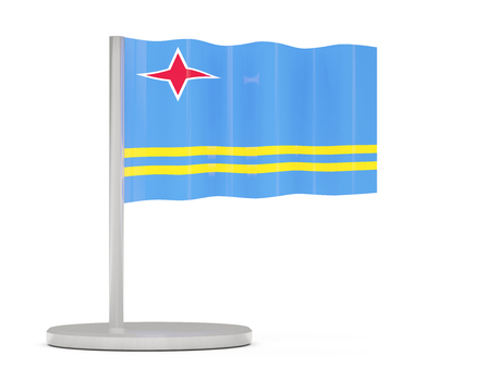 aruba: Pin with flag of aruba. 3D illustration